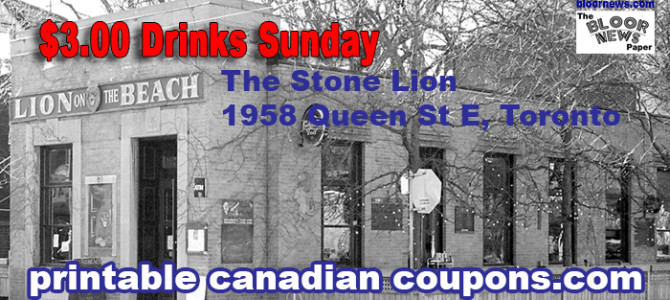 The Stone Lion Toronto $3.00 Drinks Sunday